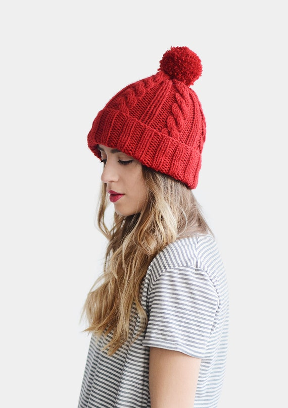 650f77b35 Hand Knit Beanie, Red Beanie Hat, Cable Knit Womens Winter Hat with Pom  Pom, Unisex Ski Hat, Mens Wool Hat, Custom Color