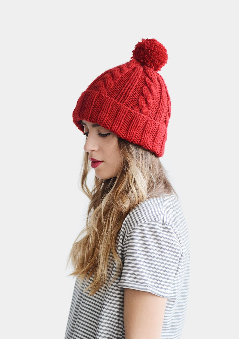 faecc91f3a0d3 Hand Knit Beanie Red Beanie Hat Cable Knit Womens Winter Hat