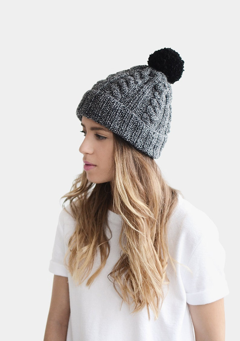 2ce3a2adcaf Customizable Hat Hand Knit Hat Wool Beanie Black n White