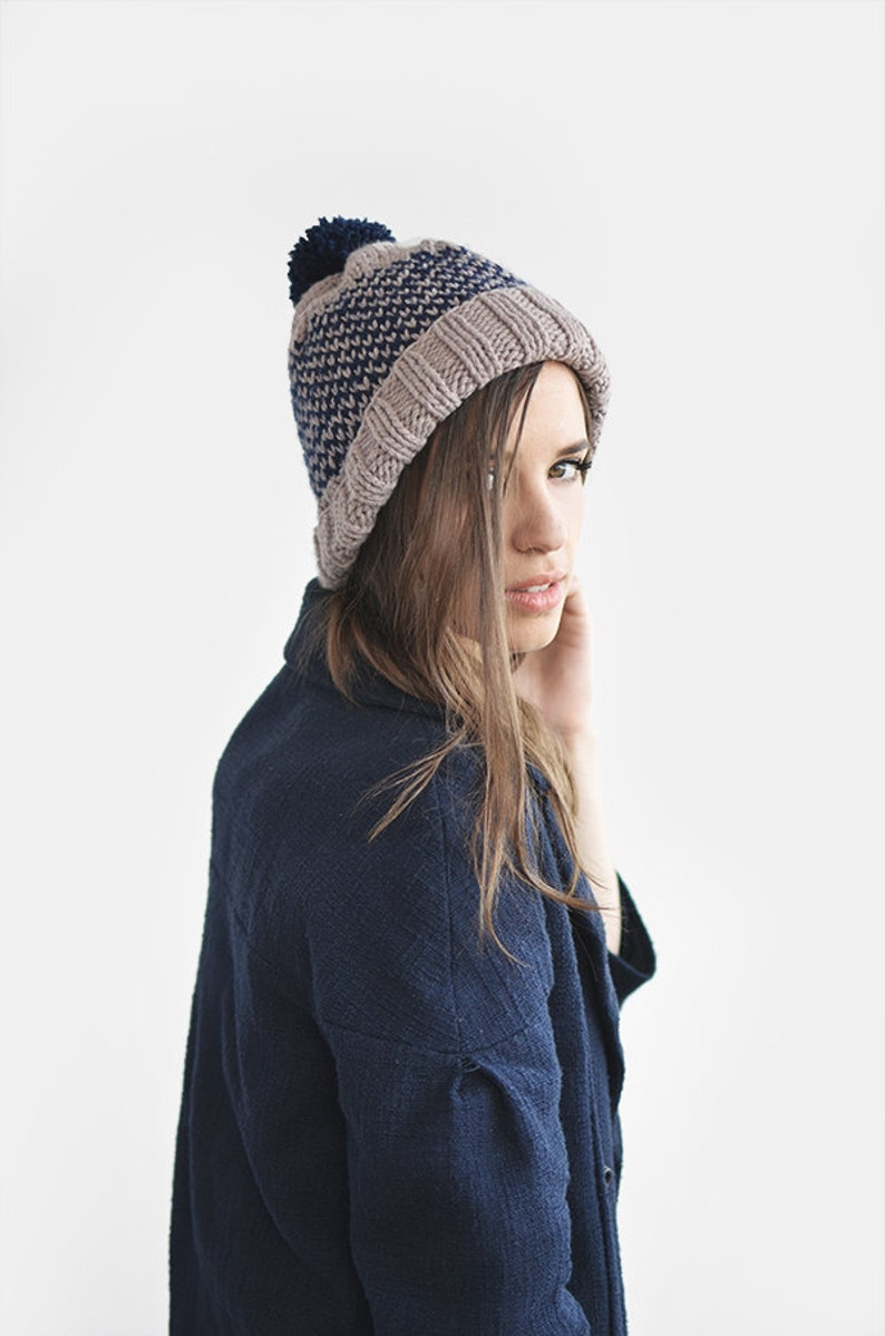 Fair Isle Beanie with Pom Pom Hand Knit Hat in Lavender    40d442300de