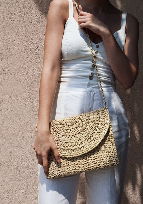 Straw Clutch Raffia handbag Straw shoulder bag Straw bag Crochet raffia bag Round crossbody bag