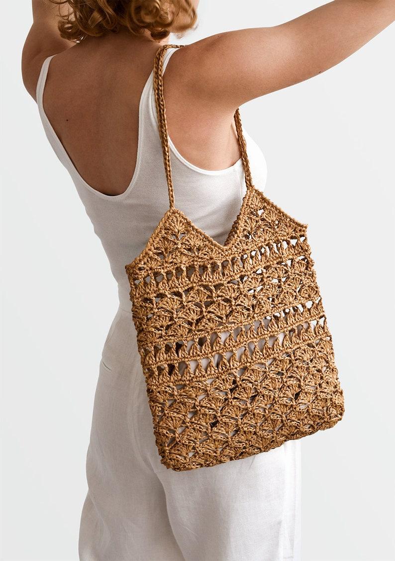 Handcrafted Tote Straw Mesh Bag Crochet Handbag \u2014 Anemone Tote Summer Tote Bag Crochet Raffia Tote Bag in Tan