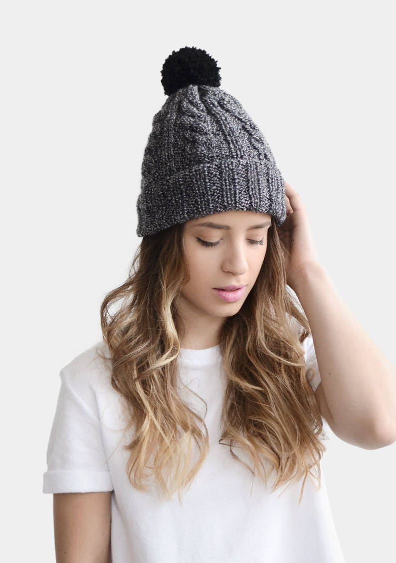 b555203c170 READY TO SHIP   Hand Knit Hat Wool Beanie Black n White Hat