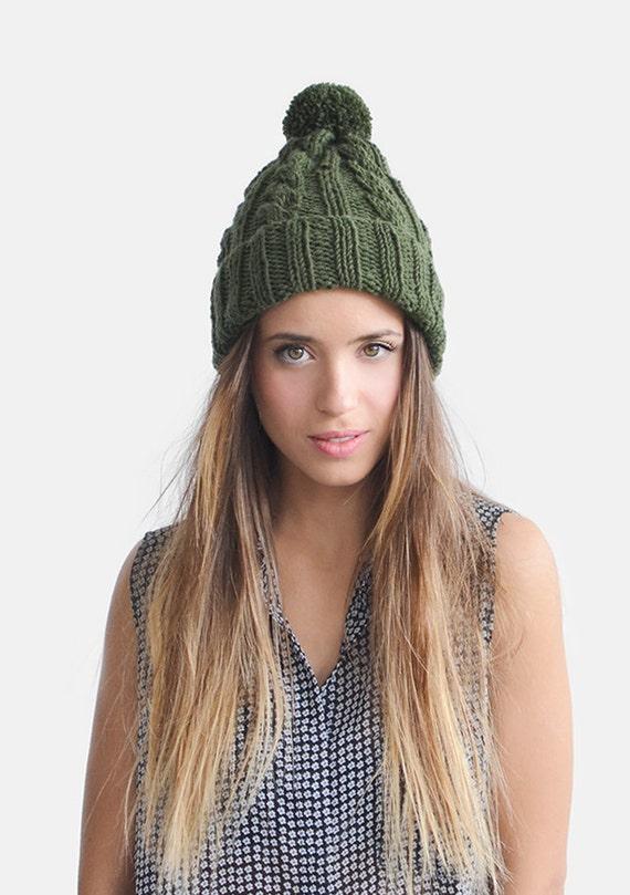 Hand Knit Hat in Deep Green Khaki Green Beanie Womens Winter  d3d9cf613aa