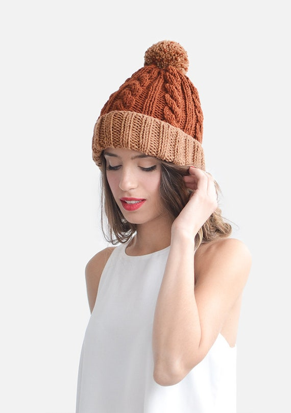 Knit Winter Cap Hat Toboggan 6 Color Combinations