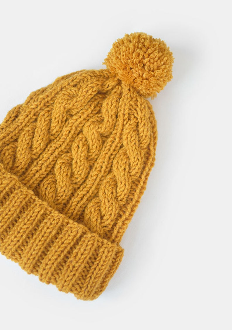 Hand Knit Beanie in Mustard Yellow Cable Knit Womens Winter  5b96c73c25e0