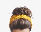 Mustard Yellow Headband, Womens Ear Warmer, Warm Hand Knit Headband, Winter Hair Accessory, Custom Colors / Hand knitted