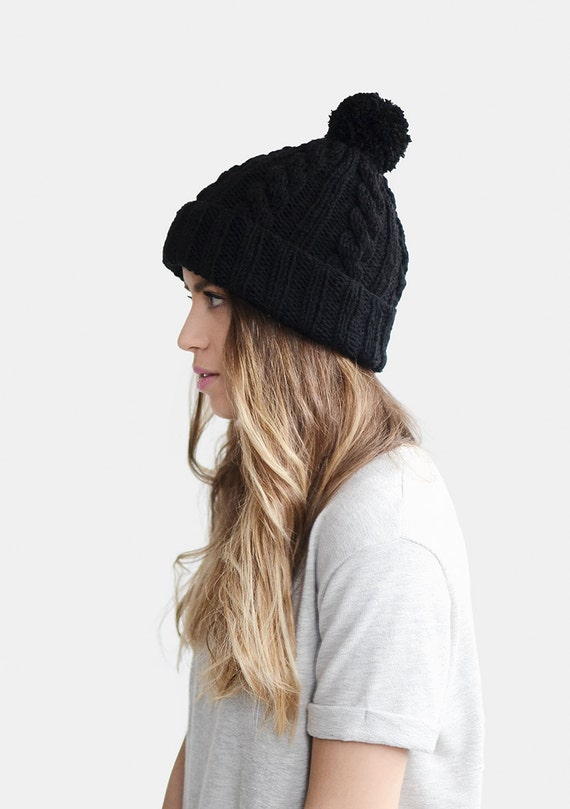 Hand Knit Beanie in Black Cable Knit Womens Winter Hat with  14f7f237ee7