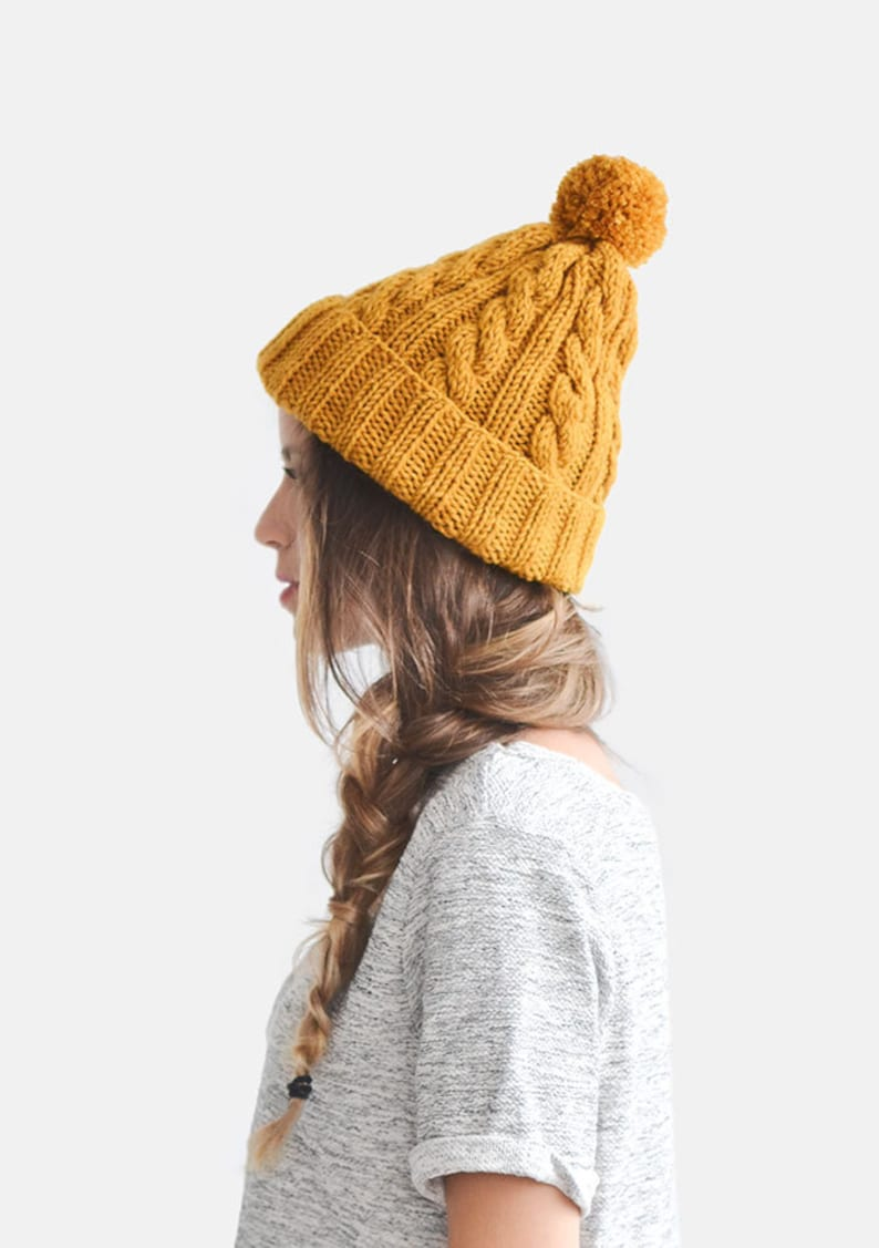 Hand Knit Beanie in Mustard Yellow Cable Knit Womens Winter  7d40e3ea5c6