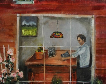 Evening at the Office original oil painting, on canvas panel 9x12 inch by Lisa Graham