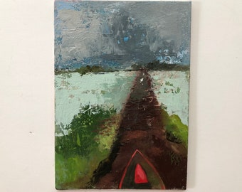 Red Kayak, original painting, oil on 5x7 inch linen panel by artist Lisa Graham