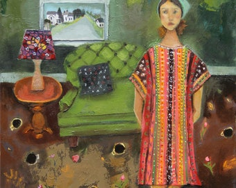 Home is Comforting, original mixed media painting on cradled wood, 11x14 inch ready to hang art by Lisa Graham