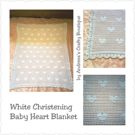 Filet häkeln weiß Taufe Herz Babydecke elegante | Etsy