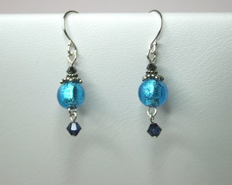 Charlotte - Aqua blue Venetian glass earrings