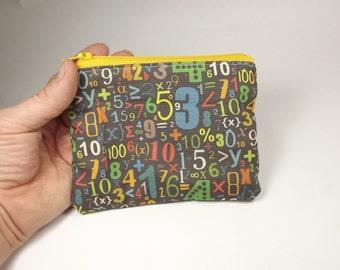 Numbers math letters teacher school handmade zipper fabric coin change purse card holder