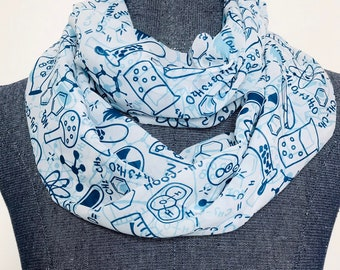 Chemistry scarf, science gifts for woman, science scarf, chemistry gift for woman, infinity scarf, chemistry teacher gift, STEM gift woman