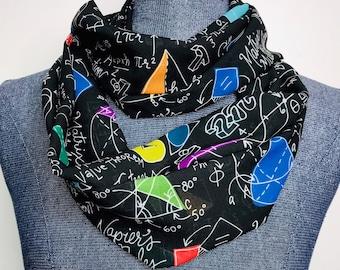 Geometry infinity scarf, Math scarf, Woman in math, chiffon scarf, feminine math accessory, math teacher gift,woman in stem, colorfull math