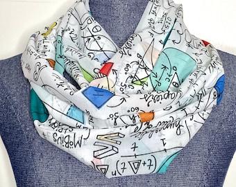 Geometry scarf, Math infinity scarf, Steminist, Woman in math, chiffon scarf, feminine math accessory, math teacher gift, colorfull math
