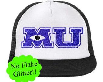 MU Monsters University Disney Themed Trucker Style Snapback Hat With No  Flake Glitter. One Sizes Fits Most Cap. b2d28b2cd03d