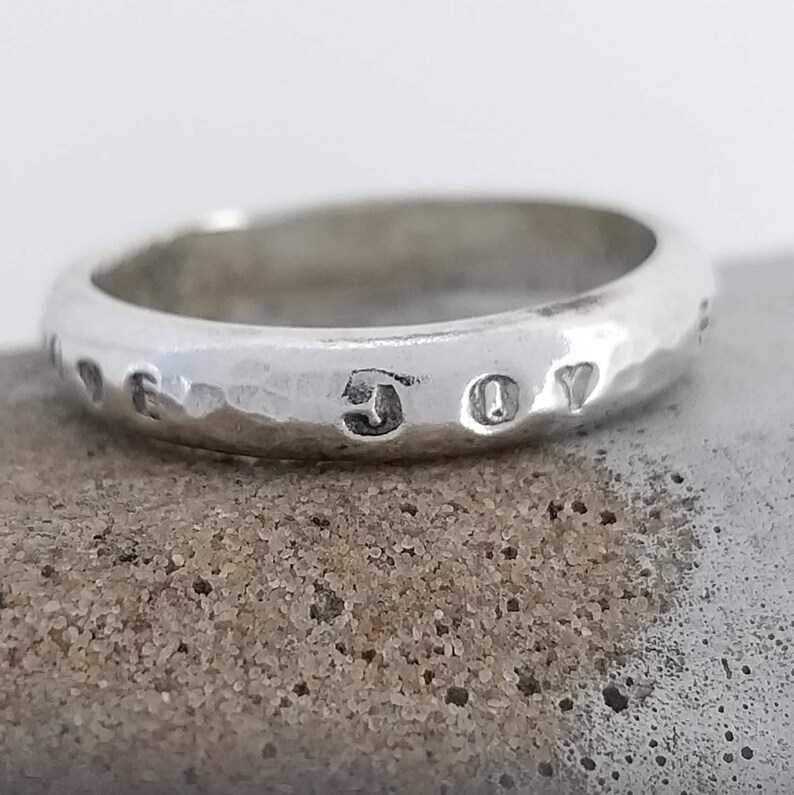 joy D ring band Love silver ring faith Multiple sizes and text available. Made to order UK based business Handcrafted textured sterling