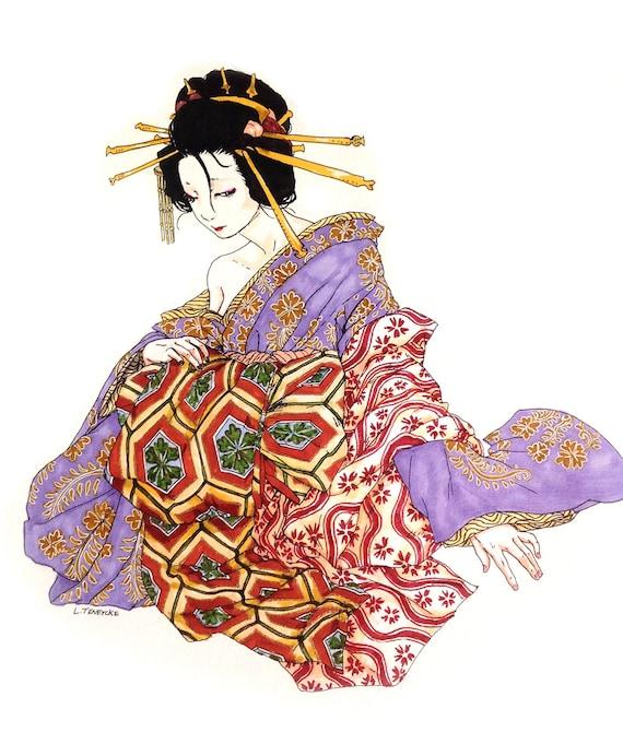 Kimono De Oiran Original Ilustración Lo Jóvenes Oiran Edo Etsy