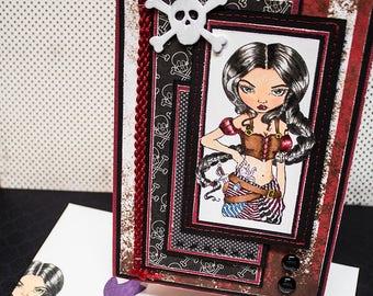 Pirate Girl  -  Handmade Greeting Card