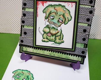 Zombie Pup,  Handmade Greeting Card, Zombie Puppy, Halloween Handmade Card, Unique Halloween Cards, Zombie Lovers, Custom Halloween cards