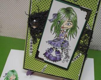 Cute Zombie Girl, Handmade Greeting Card, Cute Zombie Card, Custom Halloween Card, Zombie Gifts, Handmade Custom Cards