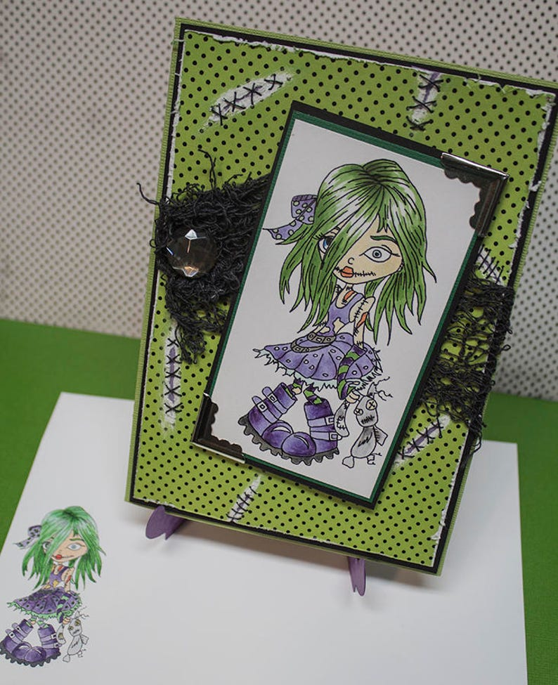 Cute Zombie Girl Handmade Greeting Card Cute Zombie Card image 0