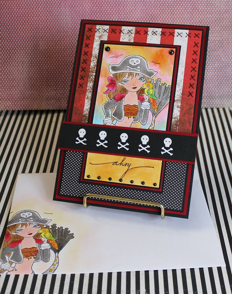 Pirate Mermaid  Handmade Greeting Card image 0