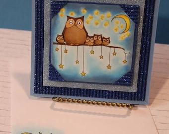 Night Owls Handmade Greeting Card, Owls Birthday Card, Owls Baby Shower, Owl Gifts, Custom Greeting Cards, Owl Family