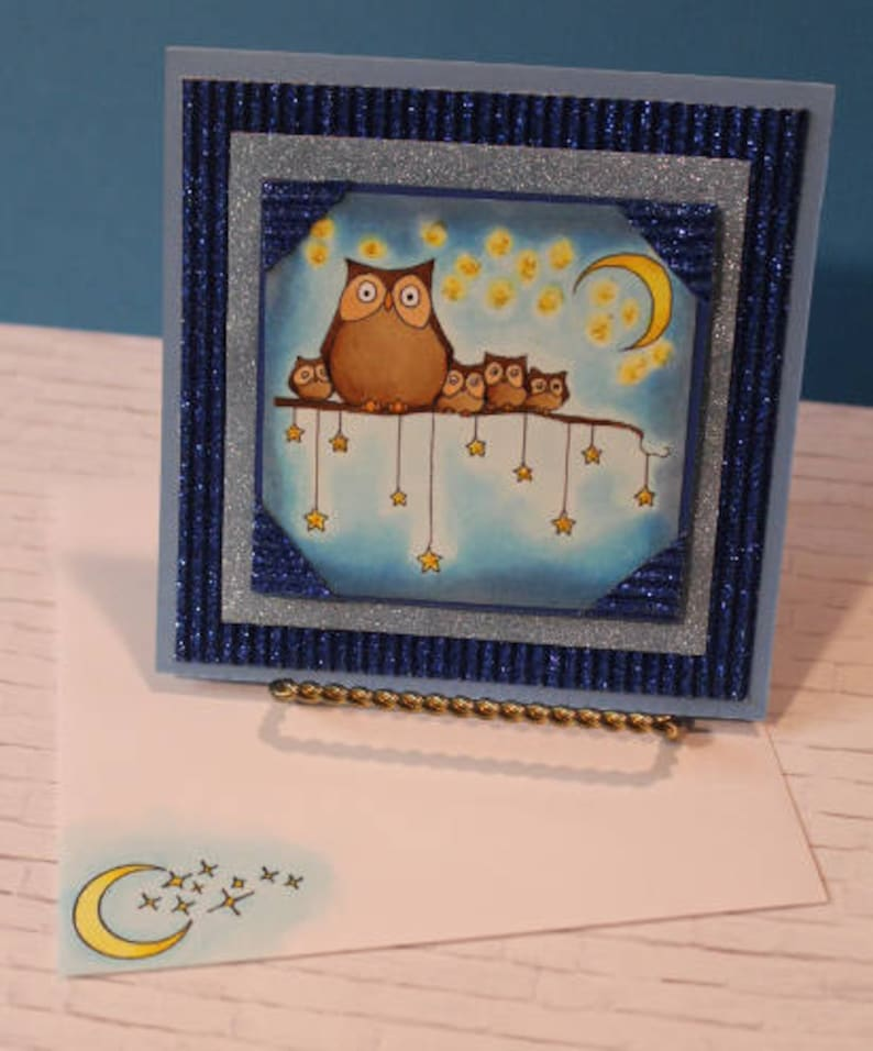 Night Owls Handmade Greeting Card Owls Birthday Card Owls image 0