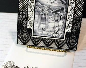 Haunted Handmade Greeting Card, Halloween Handmade Card, Graveyard, Cemetery, Spooky Greeting Card, Custom Cards, Samhain Card