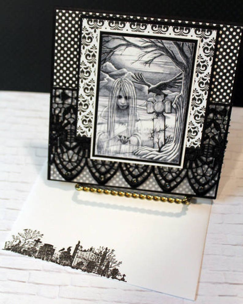 Haunted Handmade Greeting Card Halloween Handmade Card image 0