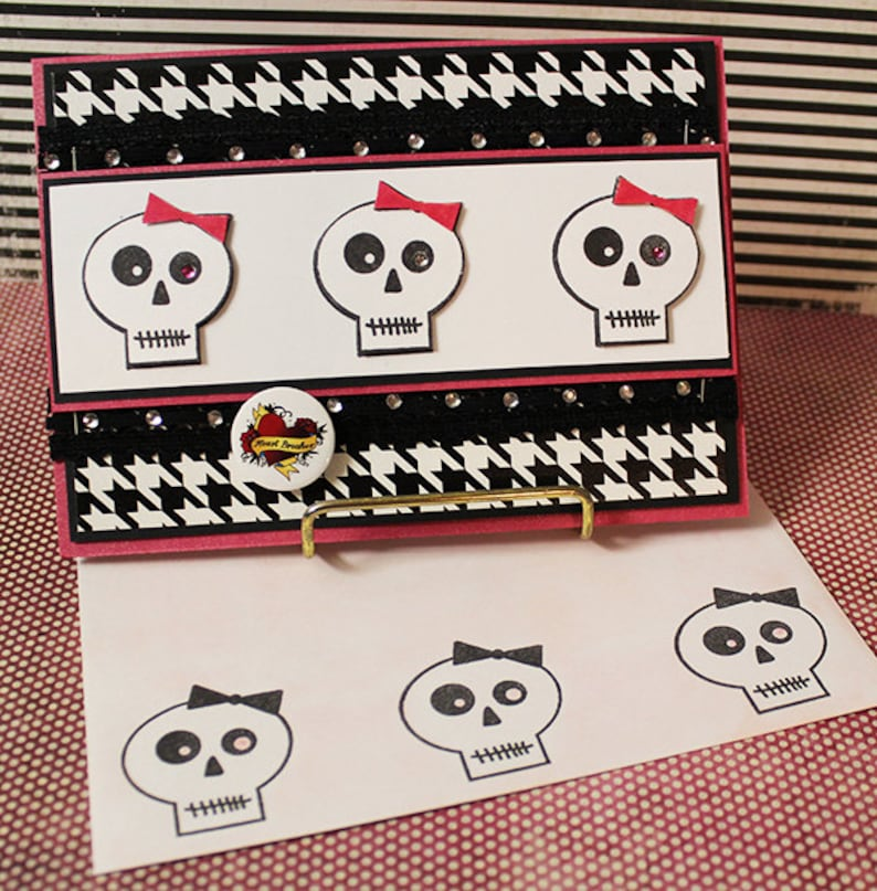 Skulls with Pink Bows  Handmade Greeting Card image 0