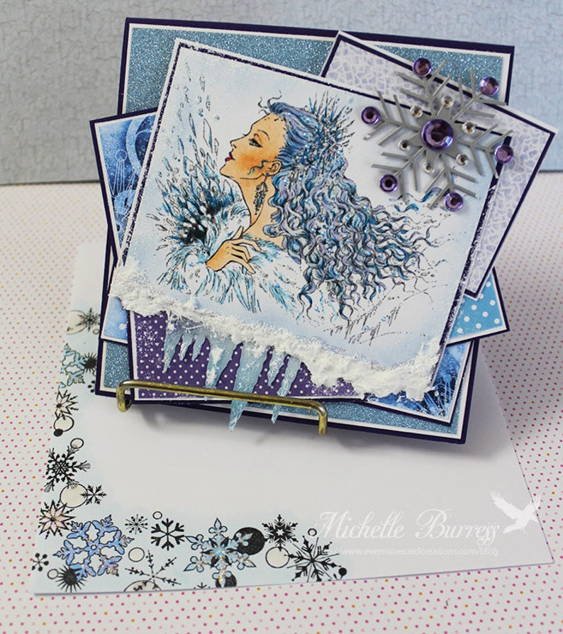 Ice Queen Handmade Yule Card Yule Greeting Cards Christmas image 0