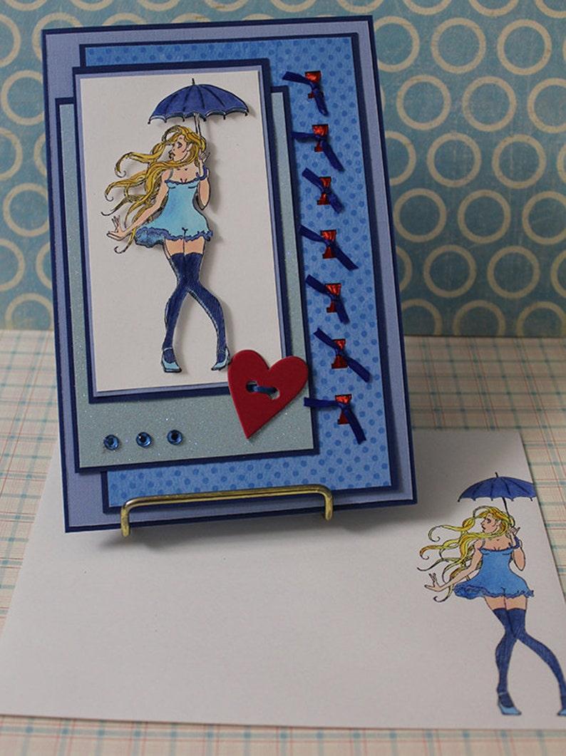Umbrella Girl   Handmade Greeting Card image 0