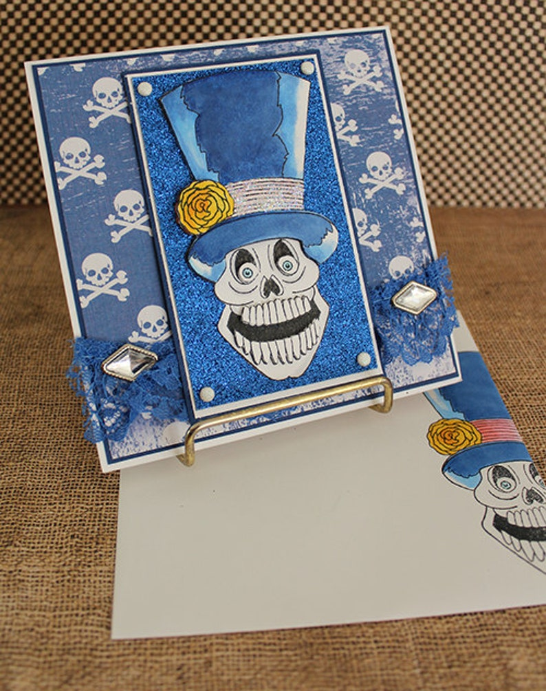Skull and Top Hat  Handmade Greeting Card image 0