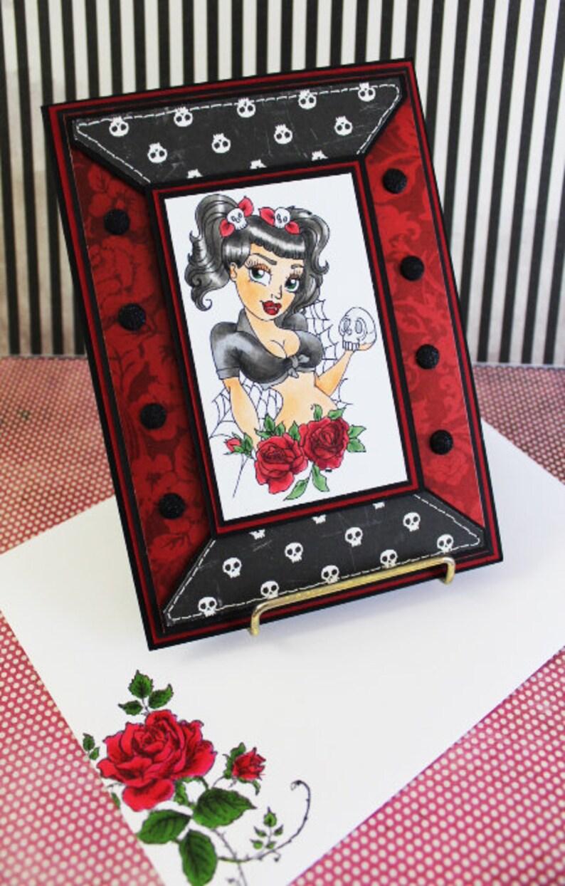Sexy Vampire Pinup Handmade Greeting Card Vampire Handmade image 0