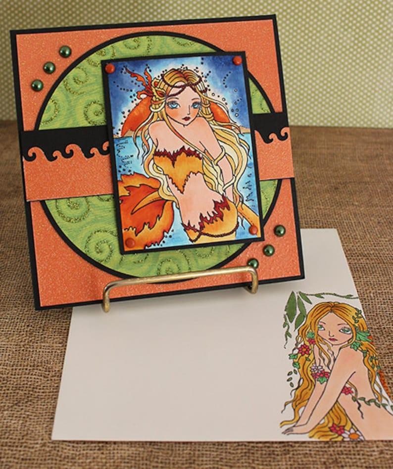 Fire Mermaid  Handmade Greeting Card image 0