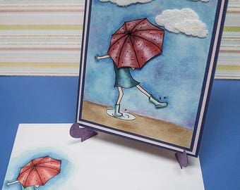 Rainy Days -  Handmade Greeting Card