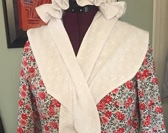 18th Century Colonial Revolutionary War Red Floral Ladies Day Gown Dress, Scarf, Mob Cap READY TO SHIP Womens Sz 10-12 (was 159.99)