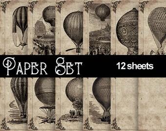 Hot air balloon Digital Paper, Ephemera Vintage Printable Set, Steampunk Background for scrapbooking, invites, cards, decoupage