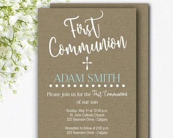 First Communion Invitation Boy - Printable Communion Invitation - 1st Communion Boy - Brown Communion Invitation - Boy Communion Invite