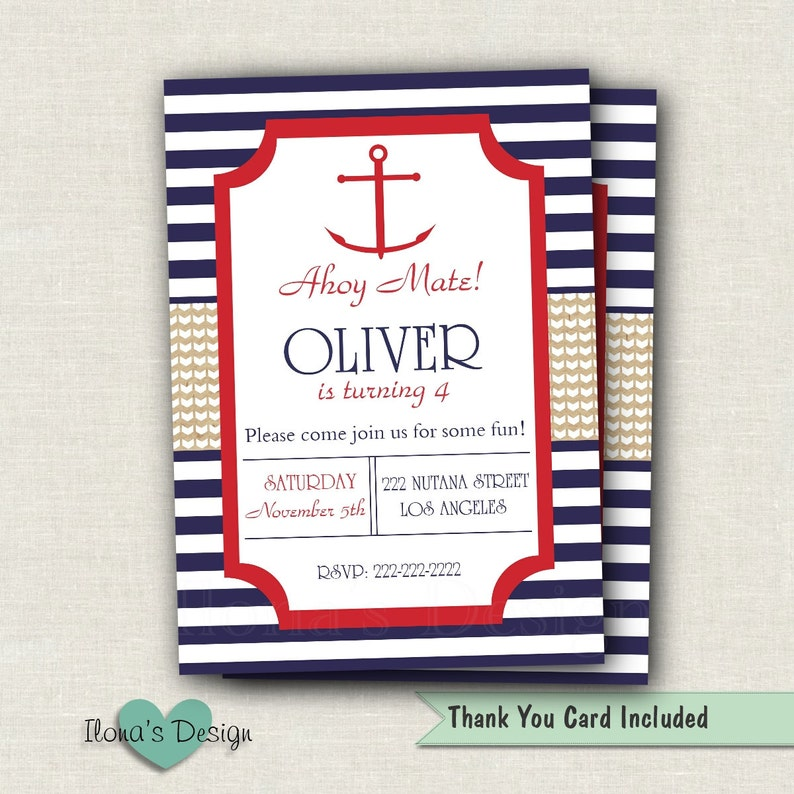 Nautical Birthday Invitation Sailboat Invite 1st