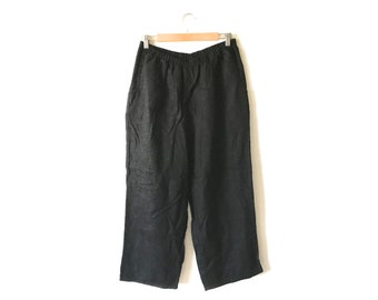 b0b8c750945 Vintage Black FLAX Linen Trousers Boho Natural Minimal Elastic Waist  Pockets Ankle Cropped Loose Wide Leg Lagenlook Women Medium M Large L