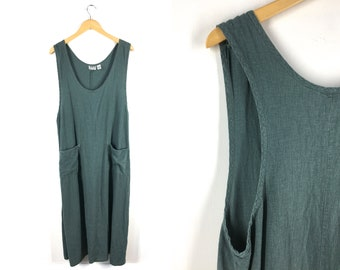 7c9ca0c59c Vintage 90s Pine Green Linen Blend Shift Midi Dress Loose Pockets Deep  Large Armholes Scoop Tank Sleeveless Lagenlook Chicos Design 3 XL L