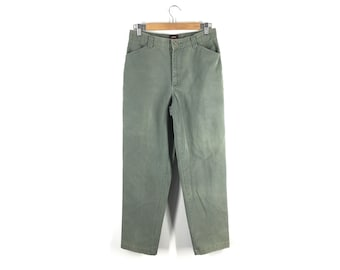 1cece54333d1e Vintage 90s Army Green Chinos Faded Cotton Flat Front No Back Pockets  Straight Leg Mid Rise Minimal Natural Fiber Pants US 8 28.5 W x 29 I
