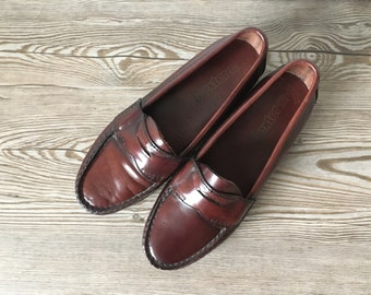 f23b7b9c1e9 Vintage 80s Penny Loafers USA Made by Dexter Preppy Classic Leather Handsewn  Flats Rich Oxblood Red Brown Unisex Men Women US 6 W Eu 37