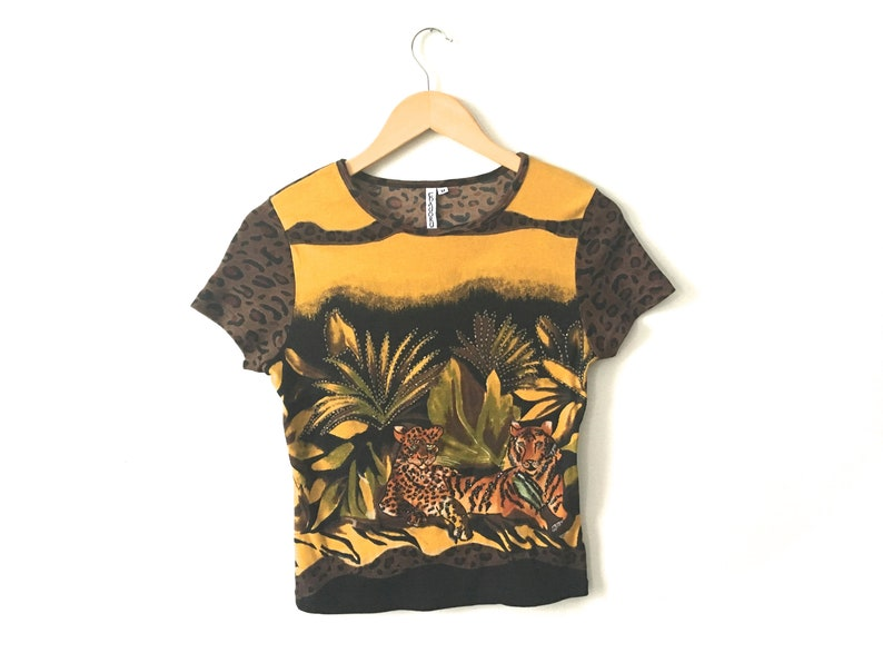 a76a76b141af9 Vintage 90s Animal Print T Shirt Gold Yellow Black Green Brown Jungle Scene  Beaded Tiny Fit Cotton Short Sleeve Rave Club Festival Small S